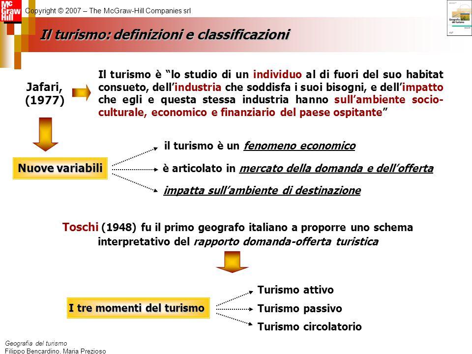 Geografia del turismo Filippo Bencardino, Maria Prezioso Copyright © 2007 – The McGraw-Hill Companies srl Il turismo: definizioni e classificazioni Ja