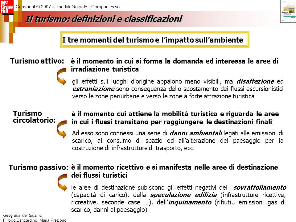 Geografia del turismo Filippo Bencardino, Maria Prezioso Copyright © 2007 – The McGraw-Hill Companies srl Il turismo: definizioni e classificazioni è