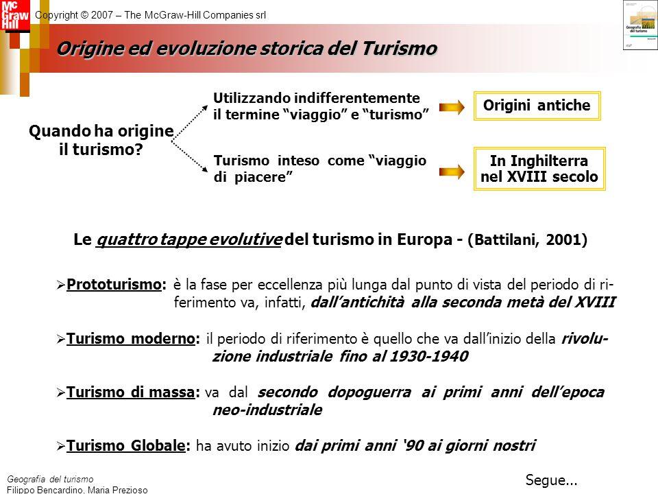 Geografia del turismo Filippo Bencardino, Maria Prezioso Copyright © 2007 – The McGraw-Hill Companies srl Origine ed evoluzione storica del Turismo Ut