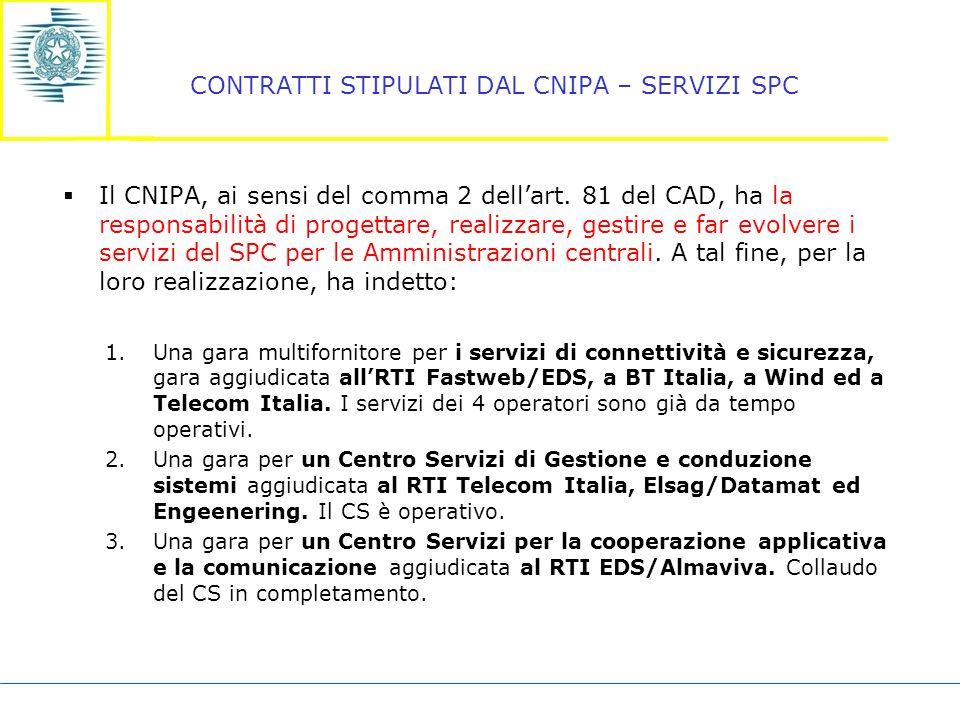 CONTRATTI STIPULATI DAL CNIPA – SERVIZI SPC  Il CNIPA, ai sensi del comma 2 dell'art.