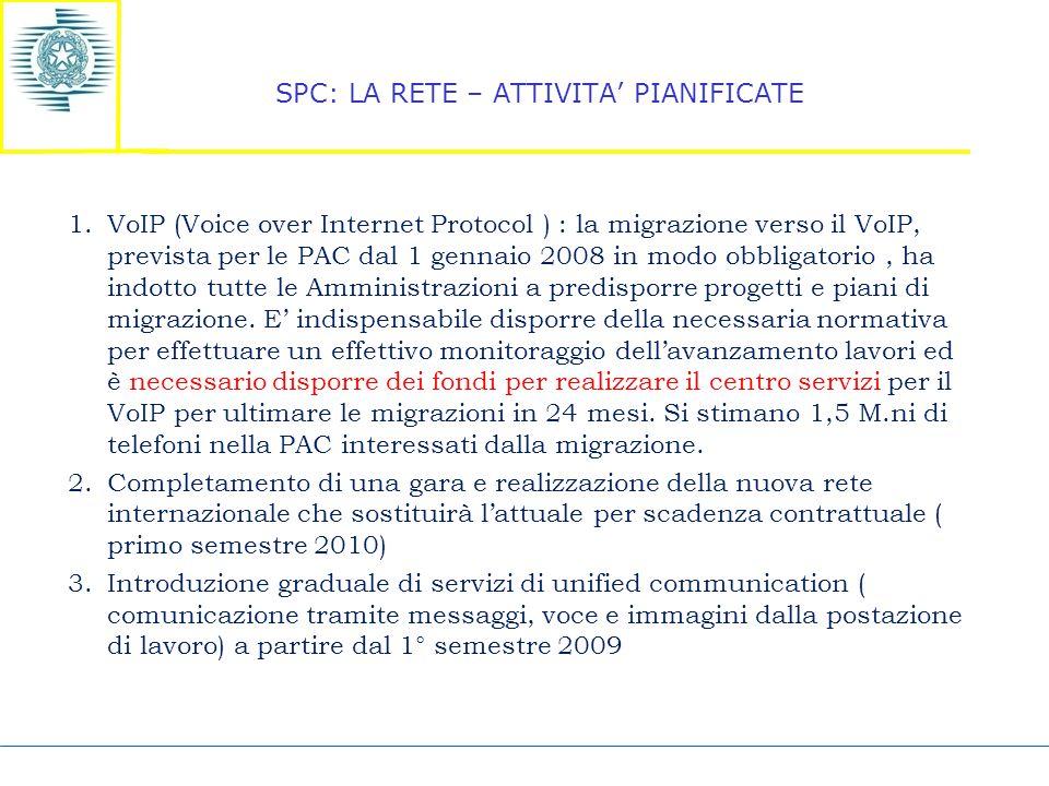 SPC: LA RETE – ATTIVITA' PIANIFICATE 1.VoIP (Voice over Internet Protocol ) : la migrazione verso il VoIP, prevista per le PAC dal 1 gennaio 2008 in modo obbligatorio, ha indotto tutte le Amministrazioni a predisporre progetti e piani di migrazione.