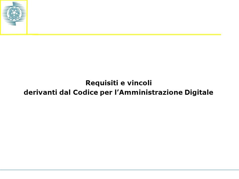 Requisiti e vincoli derivanti dal Codice per l'Amministrazione Digitale