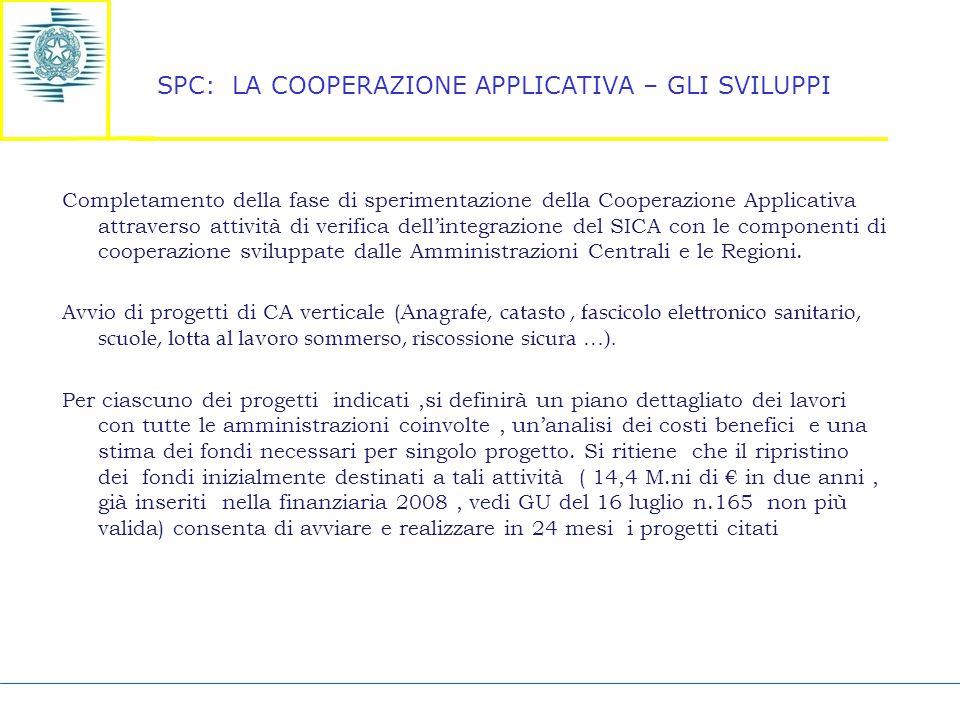 SPC: LA COOPERAZIONE APPLICATIVA – GLI SVILUPPI Completamento della fase di sperimentazione della Cooperazione Applicativa attraverso attività di verifica dell'integrazione del SICA con le componenti di cooperazione sviluppate dalle Amministrazioni Centrali e le Regioni.