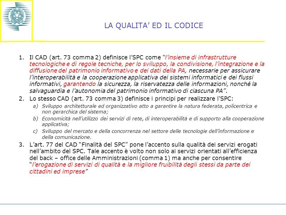LA QUALITA' ED IL CODICE 1.Il CAD (art.