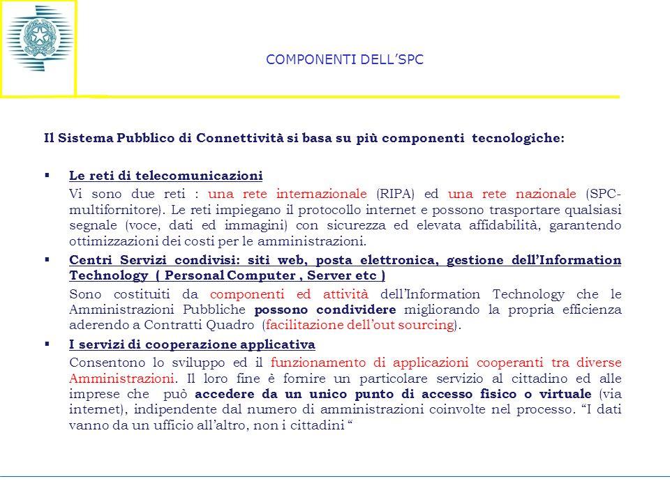 COMPONENTI DELL'SPC Il Sistema Pubblico di Connettività si basa su più componenti tecnologiche:  Le reti di telecomunicazioni Vi sono due reti : una rete internazionale (RIPA) ed una rete nazionale (SPC- multifornitore).