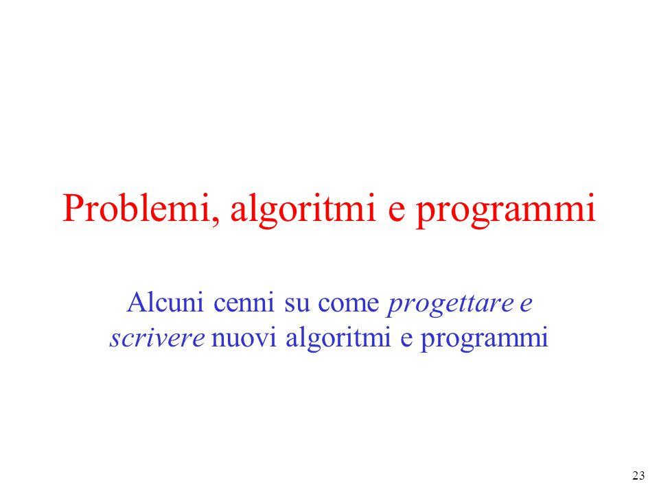23 Problemi, algoritmi e programmi Alcuni cenni su come progettare e scrivere nuovi algoritmi e programmi