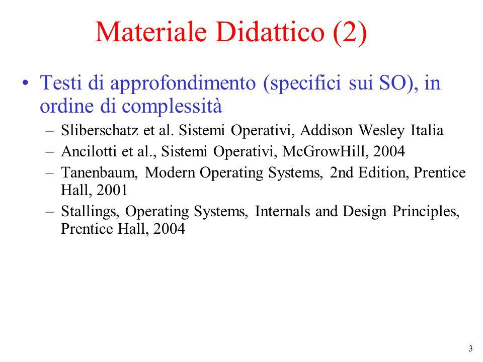 3 Materiale Didattico (2) Testi di approfondimento (specifici sui SO), in ordine di complessità –Sliberschatz et al.