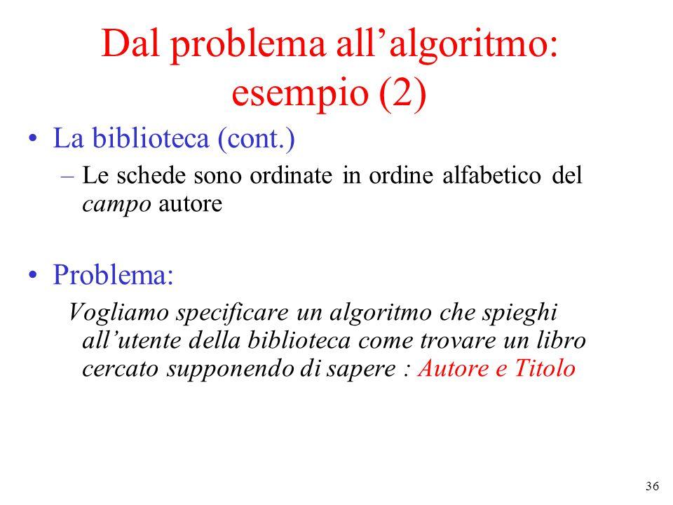 36 Dal problema all'algoritmo: esempio (2) La biblioteca (cont.) –Le schede sono ordinate in ordine alfabetico del campo autore Problema: Vogliamo specificare un algoritmo che spieghi all'utente della biblioteca come trovare un libro cercato supponendo di sapere : Autore e Titolo