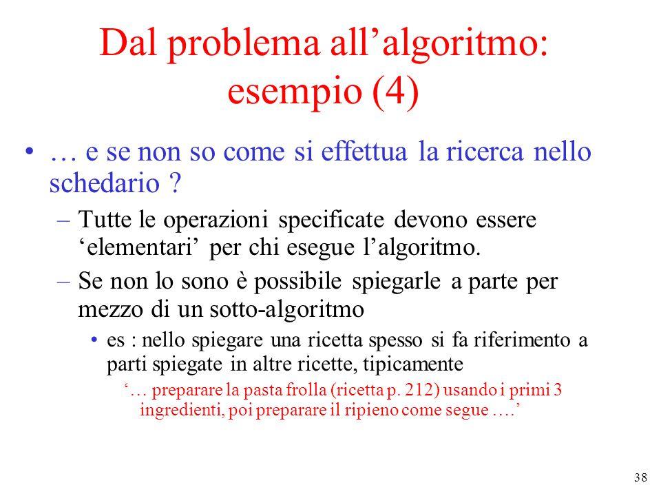 38 Dal problema all'algoritmo: esempio (4) … e se non so come si effettua la ricerca nello schedario .