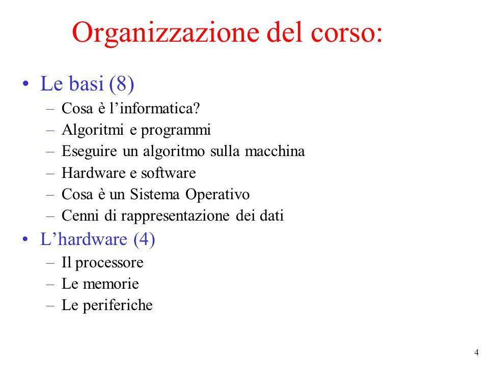 4 Organizzazione del corso: Le basi (8) –Cosa è l'informatica.