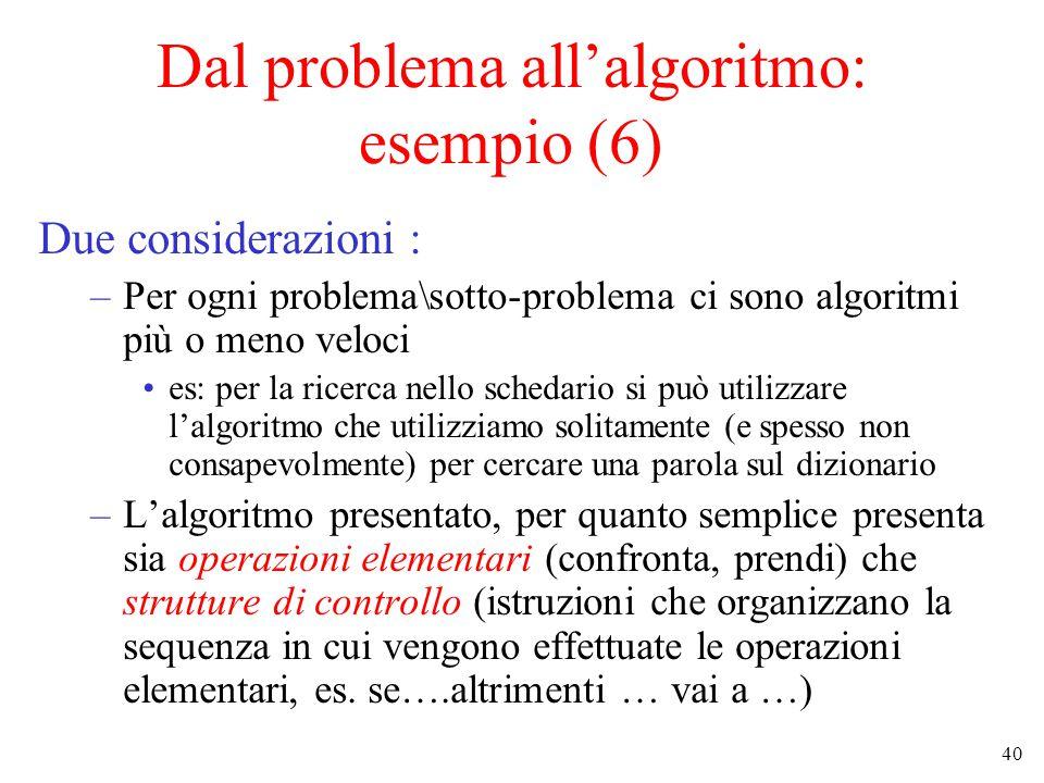 40 Dal problema all'algoritmo: esempio (6) Due considerazioni : –Per ogni problema\sotto-problema ci sono algoritmi più o meno veloci es: per la ricerca nello schedario si può utilizzare l'algoritmo che utilizziamo solitamente (e spesso non consapevolmente) per cercare una parola sul dizionario –L'algoritmo presentato, per quanto semplice presenta sia operazioni elementari (confronta, prendi) che strutture di controllo (istruzioni che organizzano la sequenza in cui vengono effettuate le operazioni elementari, es.