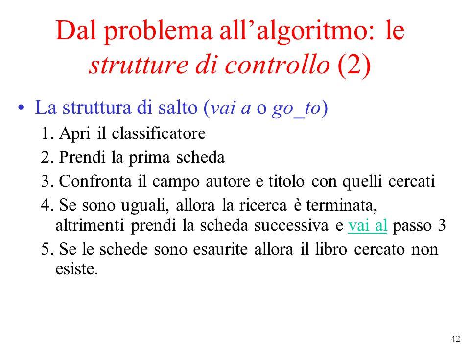 42 Dal problema all'algoritmo: le strutture di controllo (2) La struttura di salto (vai a o go_to) 1.
