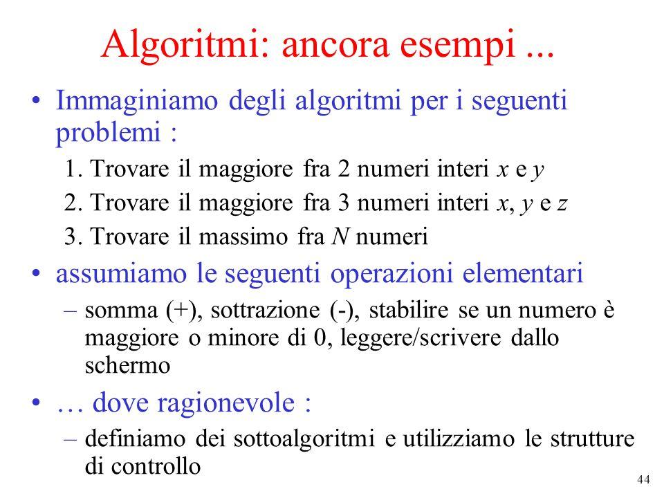 44 Algoritmi: ancora esempi... Immaginiamo degli algoritmi per i seguenti problemi : 1.