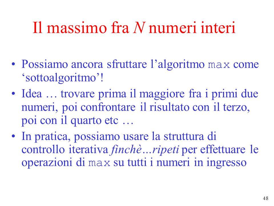 48 Il massimo fra N numeri interi Possiamo ancora sfruttare l'algoritmo max come 'sottoalgoritmo'.