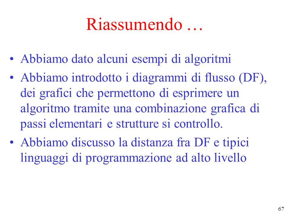 67 Riassumendo … Abbiamo dato alcuni esempi di algoritmi Abbiamo introdotto i diagrammi di flusso (DF), dei grafici che permettono di esprimere un algoritmo tramite una combinazione grafica di passi elementari e strutture si controllo.