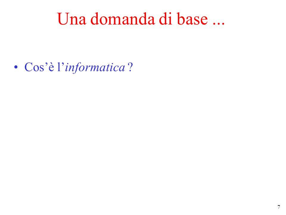 7 Una domanda di base... Cos'è l'informatica