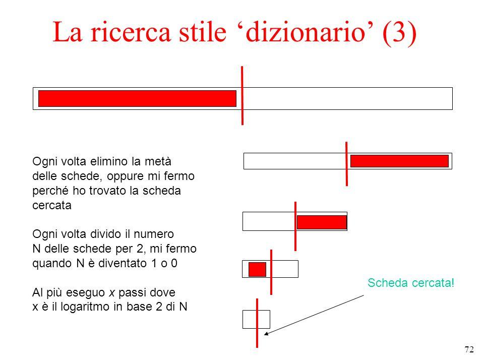 72 La ricerca stile 'dizionario' (3) Ogni volta elimino la metà delle schede, oppure mi fermo perché ho trovato la scheda cercata Ogni volta divido il numero N delle schede per 2, mi fermo quando N è diventato 1 o 0 Al più eseguo x passi dove x è il logaritmo in base 2 di N Scheda cercata!