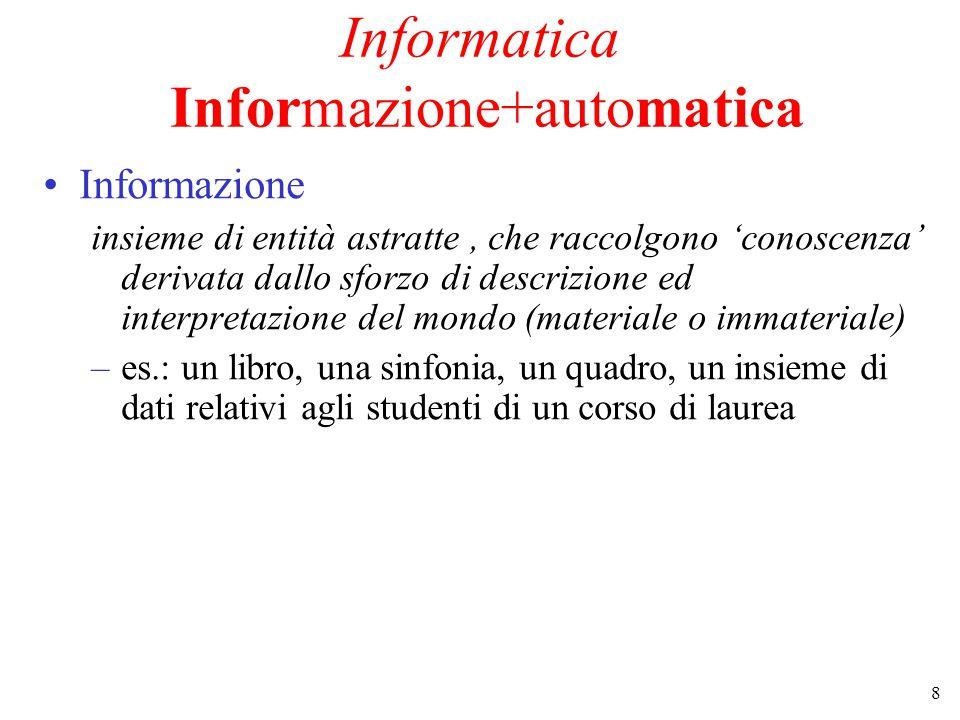 8 Informatica Informazione+automatica Informazione insieme di entità astratte, che raccolgono 'conoscenza' derivata dallo sforzo di descrizione ed interpretazione del mondo (materiale o immateriale) –es.: un libro, una sinfonia, un quadro, un insieme di dati relativi agli studenti di un corso di laurea