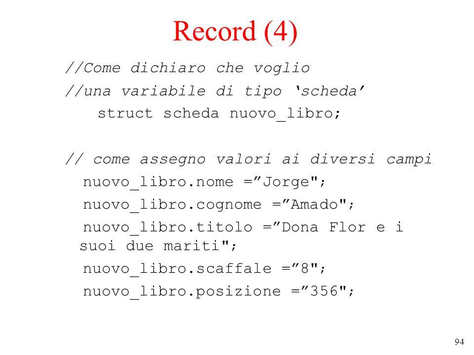 94 Record (4) //Come dichiaro che voglio //una variabile di tipo 'scheda' struct scheda nuovo_libro; // come assegno valori ai diversi campi nuovo_libro.nome = Jorge ; nuovo_libro.cognome = Amado ; nuovo_libro.titolo = Dona Flor e i suoi due mariti ; nuovo_libro.scaffale = 8 ; nuovo_libro.posizione = 356 ;