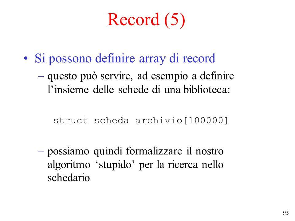 95 Record (5) Si possono definire array di record –questo può servire, ad esempio a definire l'insieme delle schede di una biblioteca: struct scheda archivio[100000] –possiamo quindi formalizzare il nostro algoritmo 'stupido' per la ricerca nello schedario