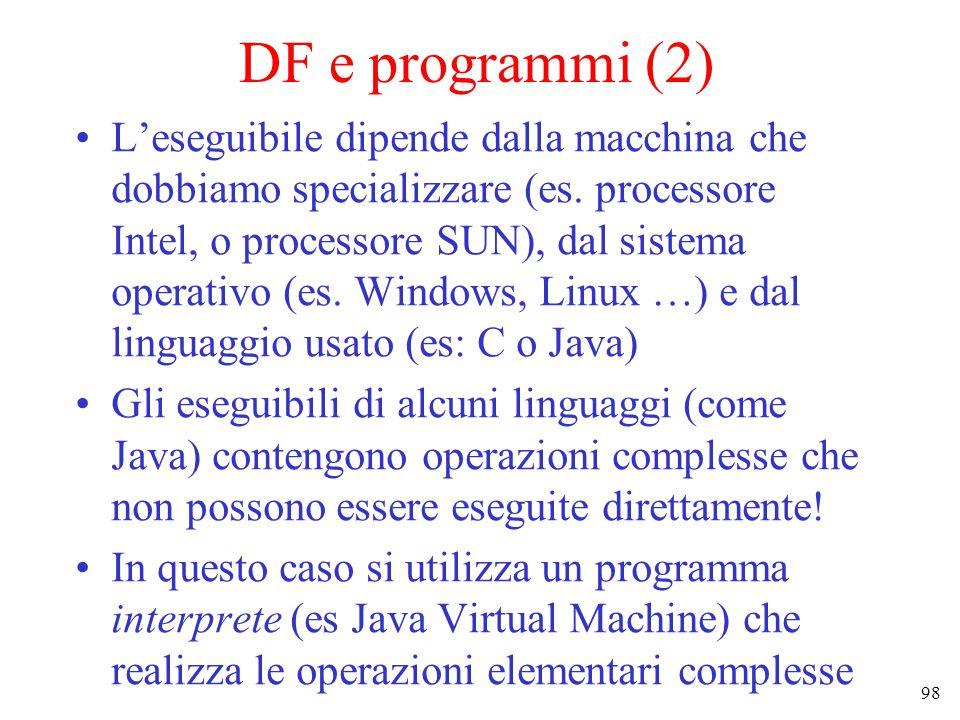 98 DF e programmi (2) L'eseguibile dipende dalla macchina che dobbiamo specializzare (es.