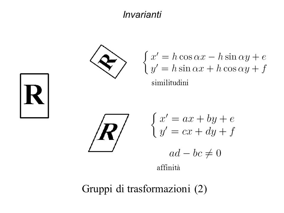 Invarianti Gruppi di trasformazioni (2) similitudini affinità
