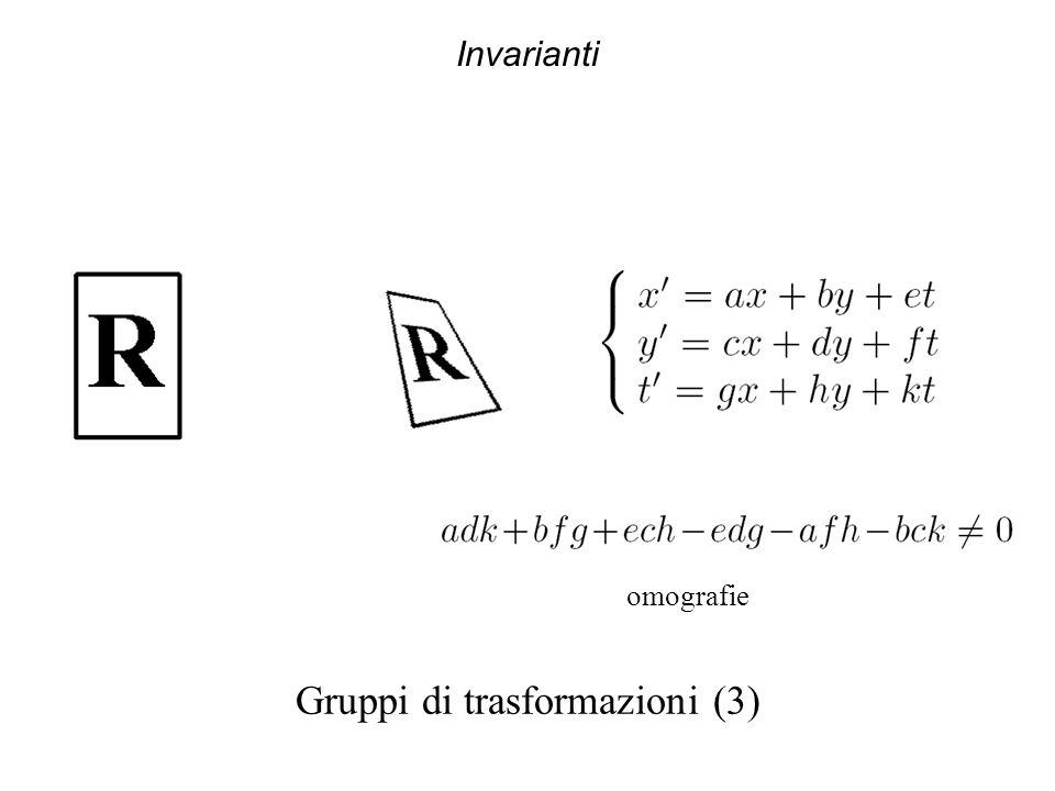 Invarianti Gruppi di trasformazioni (3) omografie