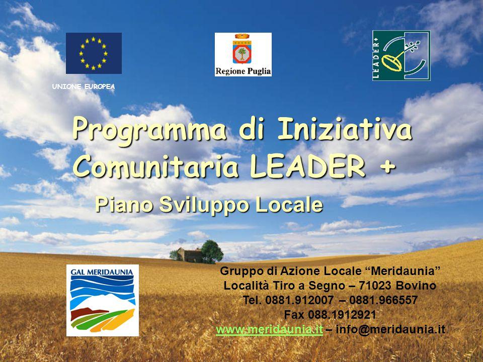 Programma di Iniziativa Comunitaria LEADER + Piano Sviluppo Locale Gruppo di Azione Locale Meridaunia Località Tiro a Segno – 71023 Bovino Tel.