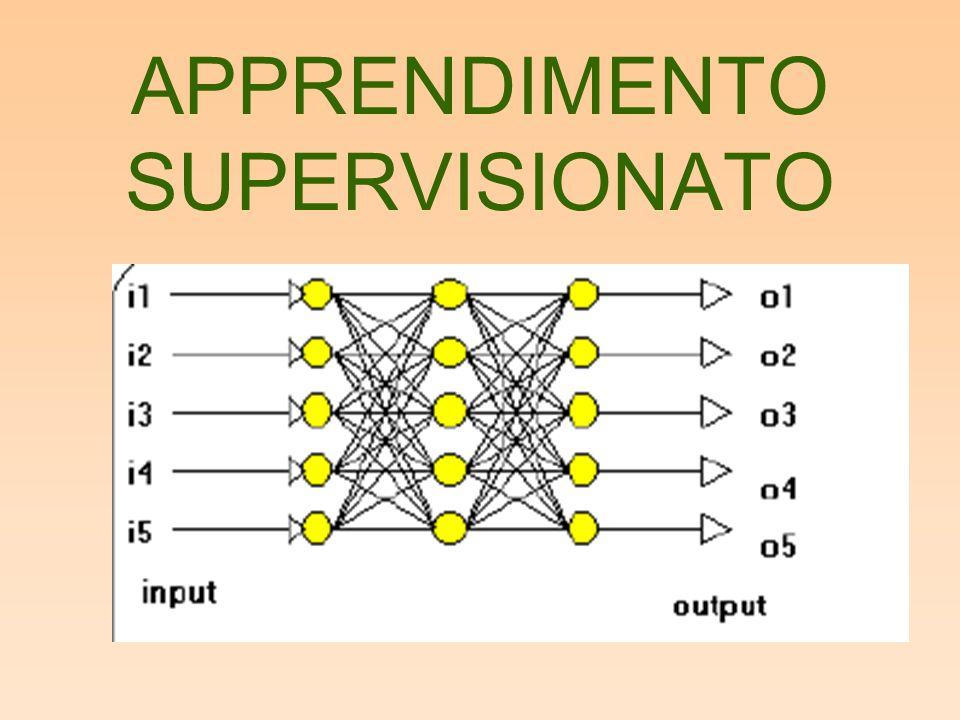 –Algoritmo: –N esempi ciascuno composto da k input –J output –Ogni ciclo viene chiamato epoca di apprendimento –Durante l'addestramento la rete impara la relazione fra input ed output