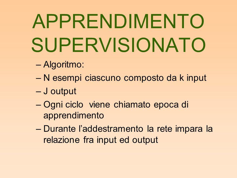 –Algoritmo: –N esempi ciascuno composto da k input –J output –Ogni ciclo viene chiamato epoca di apprendimento –Durante l'addestramento la rete impara