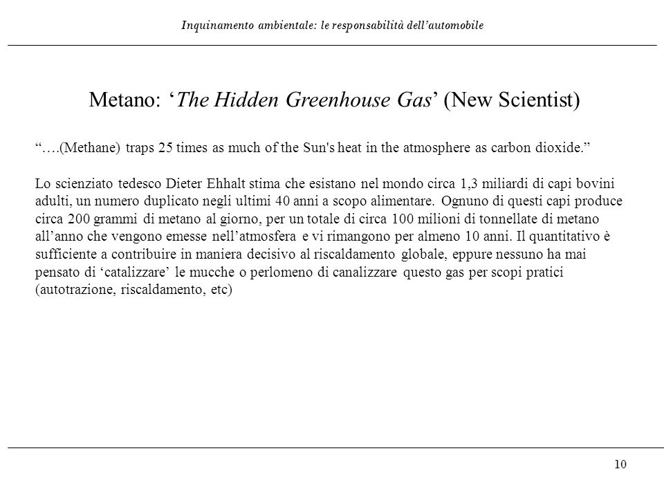 "Inquinamento ambientale: le responsabilità dell'automobile 10 Metano: 'The Hidden Greenhouse Gas' (New Scientist) ""….(Methane) traps 25 times as much"