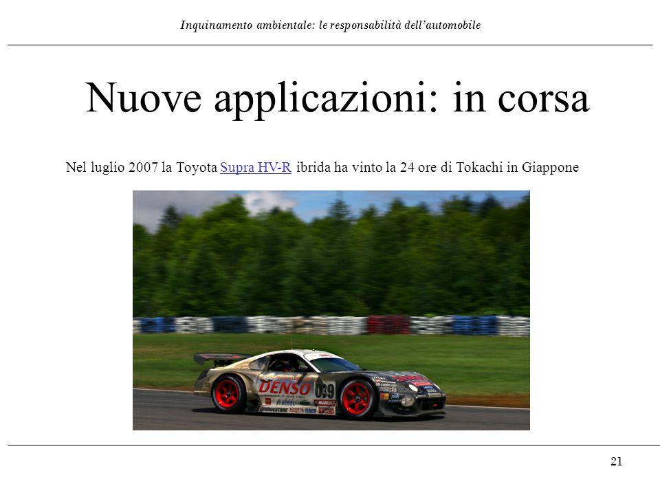 Inquinamento ambientale: le responsabilità dell'automobile 21 Nel luglio 2007 la Toyota Supra HV-R ibrida ha vinto la 24 ore di Tokachi in GiapponeSup