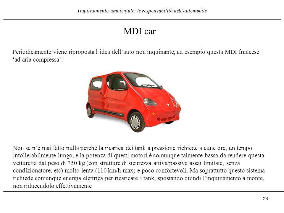 Inquinamento ambientale: le responsabilità dell'automobile 23 MDI car Periodicamente viene riproposta l'idea dell'auto non inquinante, ad esempio ques