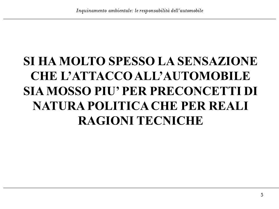 Inquinamento ambientale: le responsabilità dell'automobile 6 INQUINANTI DIVERSI, PROBLEMI DIVERSI: -Benzene -Monossido di Carbonio -NOx -Anidride Carbonica -Polveri sottili (<PM10).