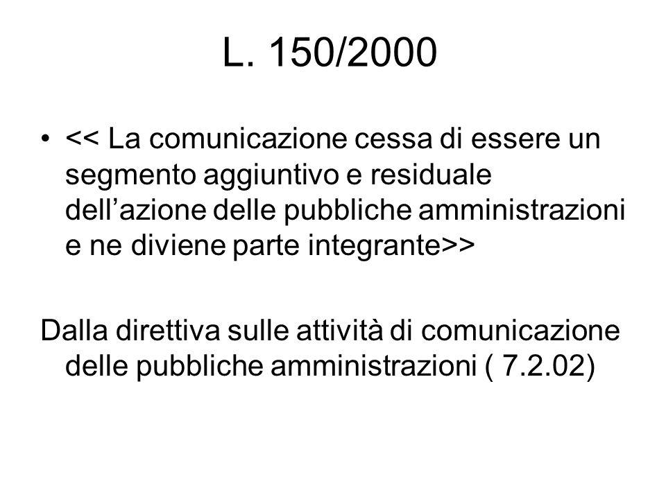 L. 150/2000 > Dalla direttiva sulle attività di comunicazione delle pubbliche amministrazioni ( 7.2.02)