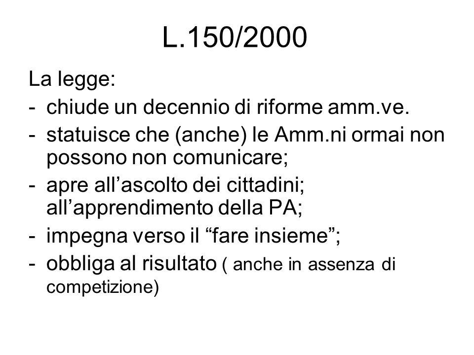 L.150/2000 La legge: -chiude un decennio di riforme amm.ve. -statuisce che (anche) le Amm.ni ormai non possono non comunicare; -apre all'ascolto dei c