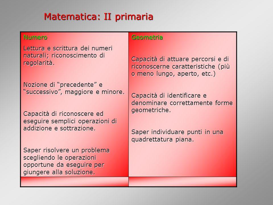 Matematica: II primaria Numero Lettura e scrittura dei numeri naturali; riconoscimento di regolarità.