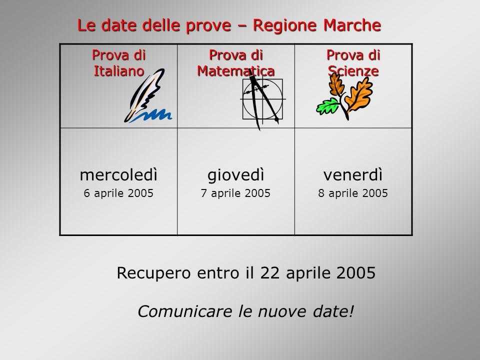 Le date delle prove – Regione Marche Prova di Italiano Prova di Matematica Prova di Scienze mercoledì 6 aprile 2005 giovedì 7 aprile 2005 venerdì 8 aprile 2005 Recupero entro il 22 aprile 2005 Comunicare le nuove date!
