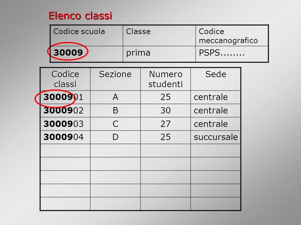 Elenco classi Codice classi Sezione Numero studenti Sede 3000901A25centrale 3000902B30centrale 3000903C27centrale 3000904D25succursale Codice scuolaClasseCodice meccanografico 30009primaPSPS........