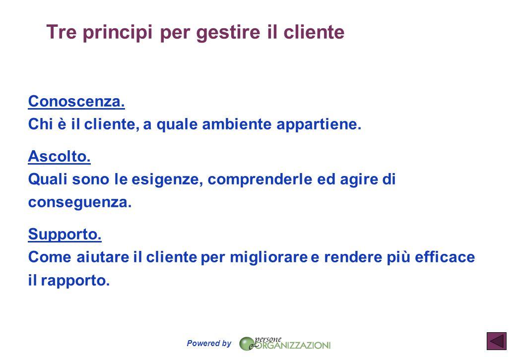 Powered by Tre principi per gestire il cliente Conoscenza. Chi è il cliente, a quale ambiente appartiene Ascolto. Quali sono le esigenze, comprenderle