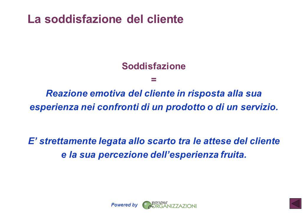 Powered by La soddisfazione del cliente Soddisfazione = Reazione emotiva del cliente in risposta alla sua esperienza nei confronti di un prodotto o di