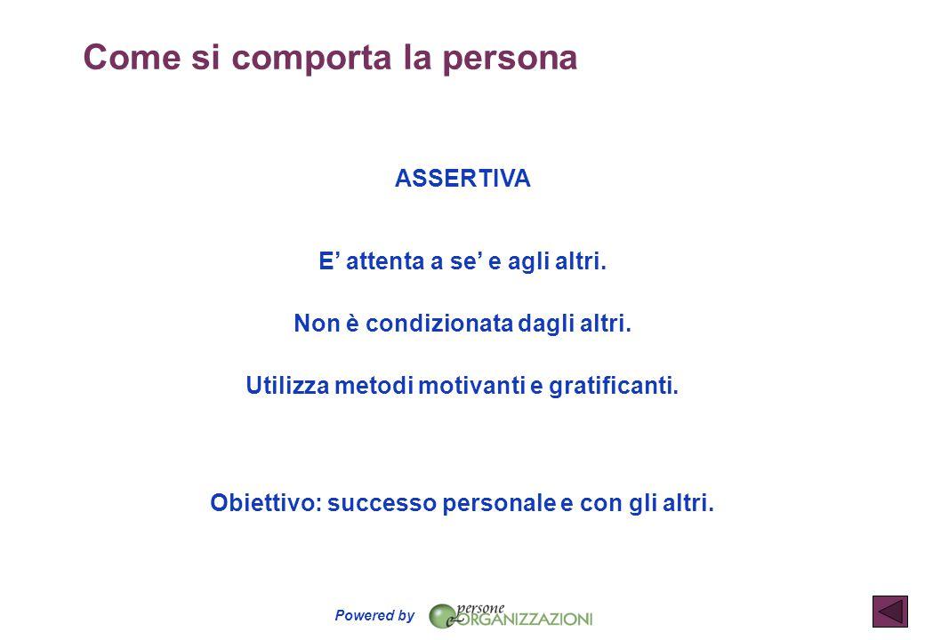 Powered by ASSERTIVA E' attenta a se' e agli altri. Non è condizionata dagli altri. Utilizza metodi motivanti e gratificanti. Obiettivo: successo pers
