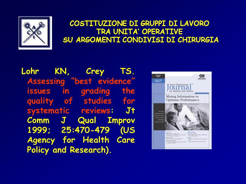COSTITUZIONE DI GRUPPI DI LAVORO TRA UNITA' OPERATIVE SU ARGOMENTI CONDIVISI DI CHIRURGIA Lohr KN, Crey TS.