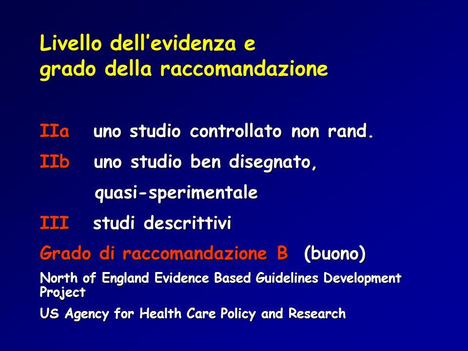 Livello dell'evidenza e grado della raccomandazione IIa uno studio controllato non rand.