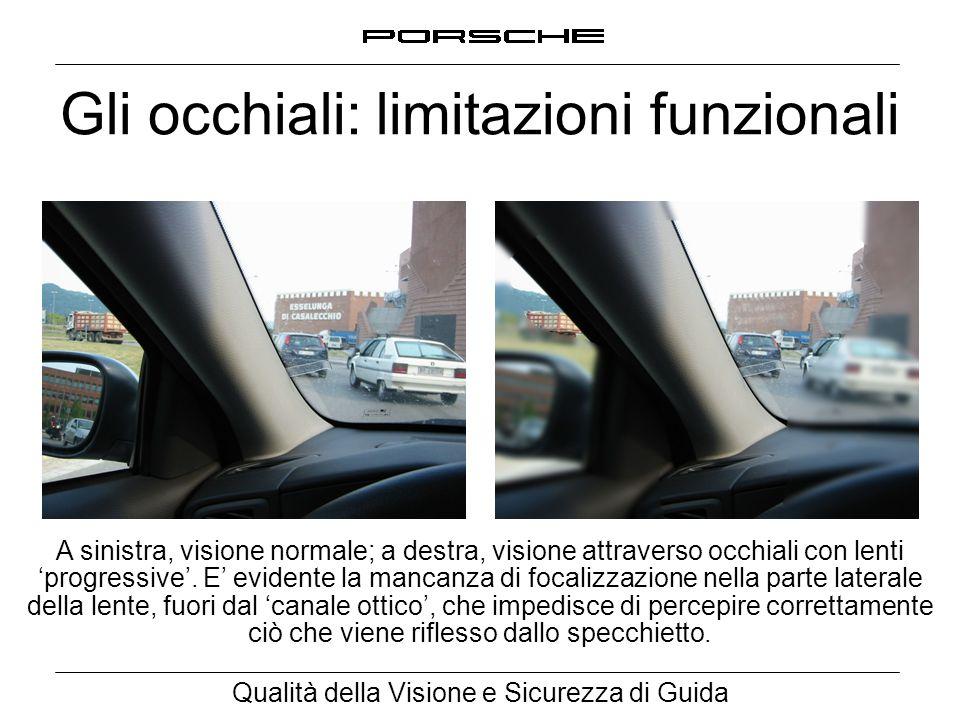 Qualità della Visione e Sicurezza di Guida Gli occhiali: limitazioni funzionali A sinistra, visione normale; a destra, visione attraverso occhiali con