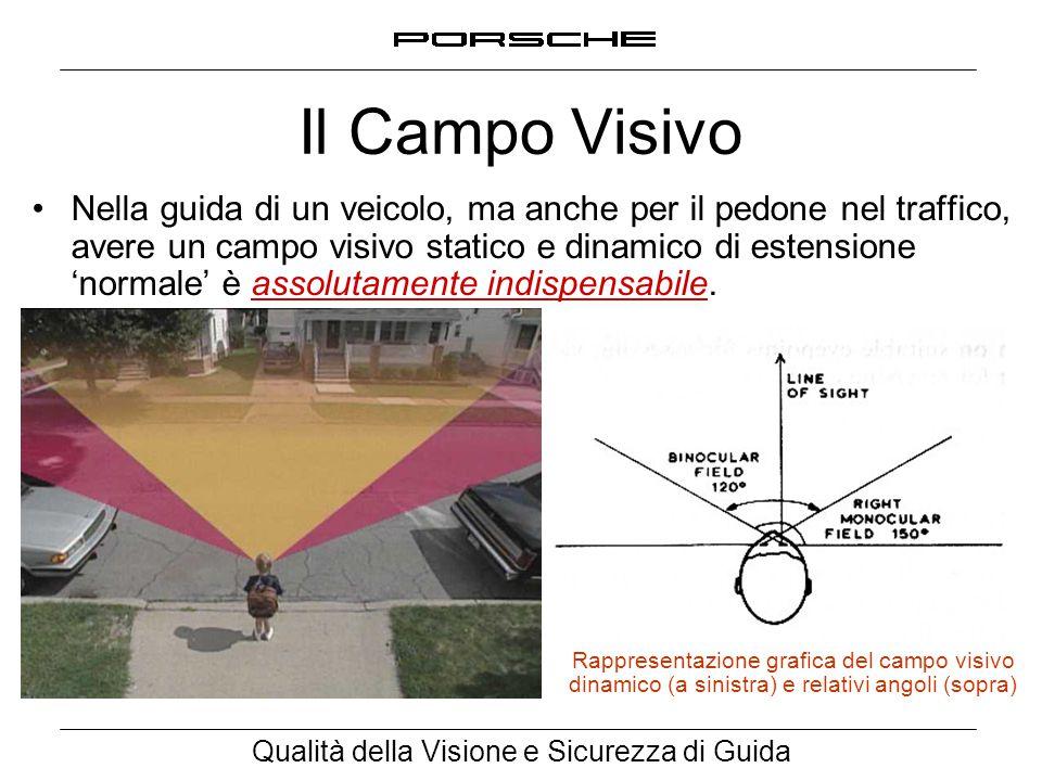 Qualità della Visione e Sicurezza di Guida Il Campo Visivo Nella guida di un veicolo, ma anche per il pedone nel traffico, avere un campo visivo stati