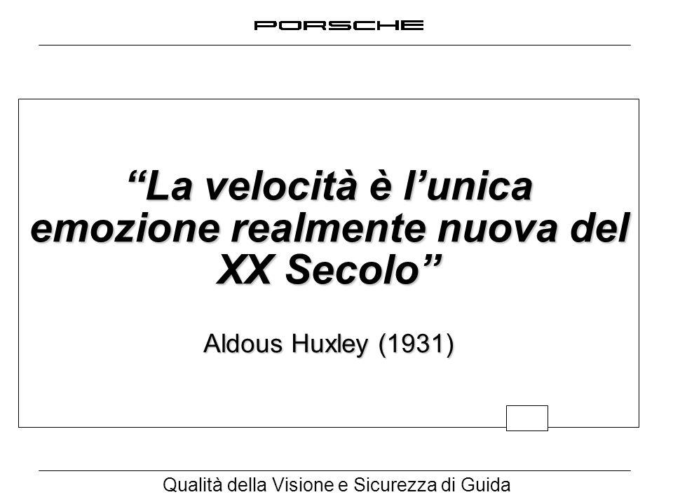 """Qualità della Visione e Sicurezza di Guida """"La velocità è l'unica emozione realmente nuova del XX Secolo"""" Aldous Huxley (1931)"""