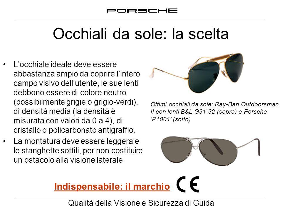 Qualità della Visione e Sicurezza di Guida Occhiali da sole: la scelta L'occhiale ideale deve essere abbastanza ampio da coprire l'intero campo visivo