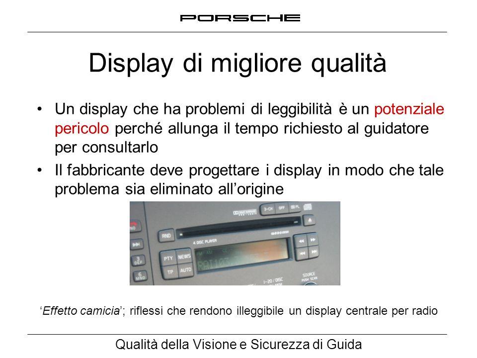 Qualità della Visione e Sicurezza di Guida Display di migliore qualità Un display che ha problemi di leggibilità è un potenziale pericolo perché allun