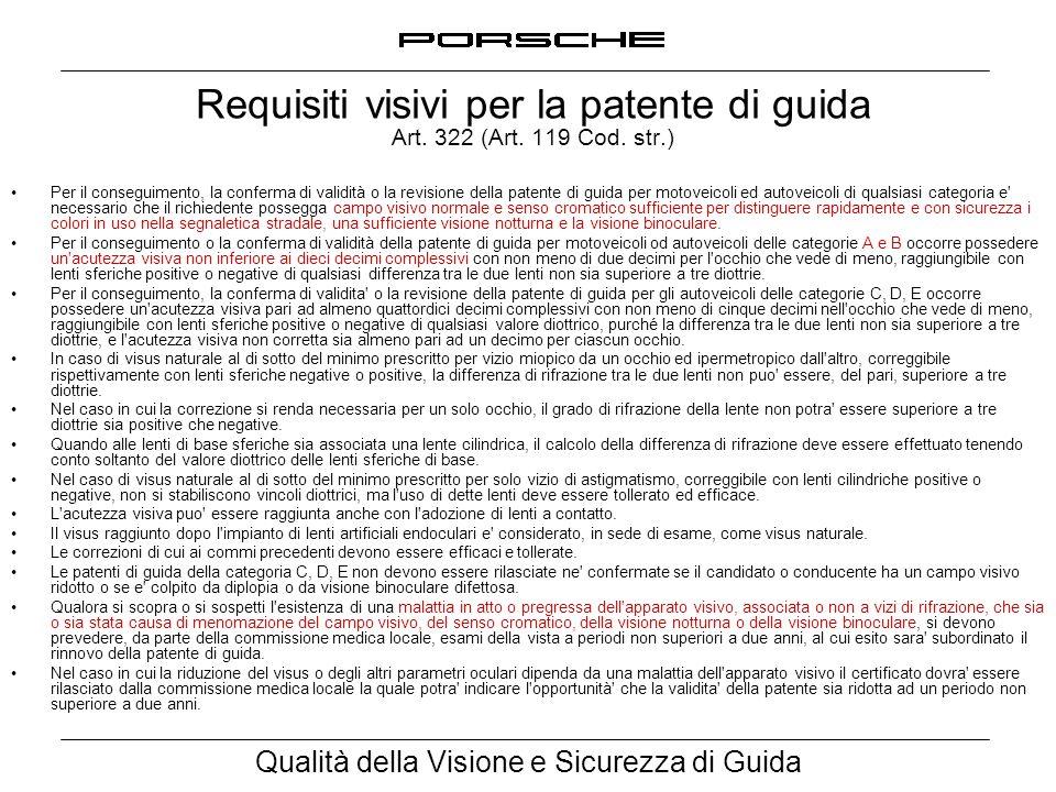 Qualità della Visione e Sicurezza di Guida Requisiti visivi per la patente di guida Art. 322 (Art. 119 Cod. str.) Per il conseguimento, la conferma di